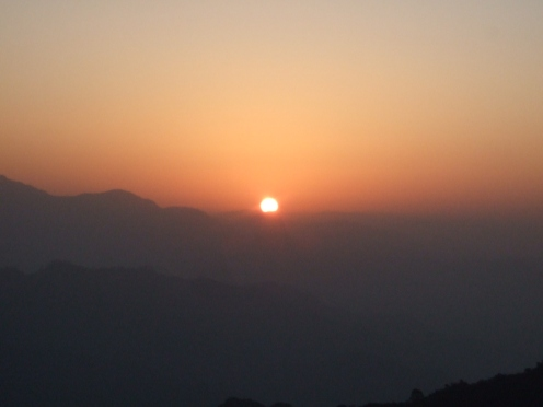 Sunrise viewed from Kunjapuri Devi Temple, Rishikesh