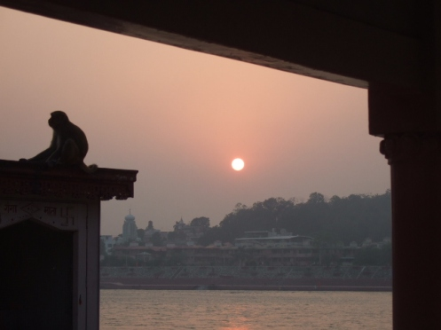Sunset at the Ganga riverbank in front of Parmarth Niketan ashram, Rishikesh