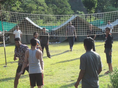 Jungle camp with playground for Volleyball, Cricket and Badminton as well as space for various group activities (e.g. music/dance, yoga/meditation, workshops/conferences)