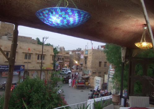 Street scene viewed from a restaurant in Jaisalmer