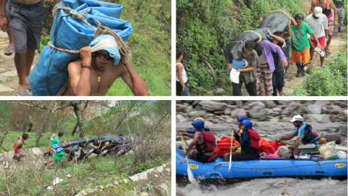Team carrying rafting equipment – necessary to reach villagers on the other side of the river