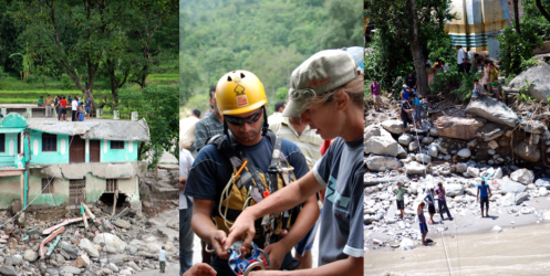 Team builds zip lines and rope bridges to re-connect the cut-off villagers and supply them with food, clothes, tent materials etc